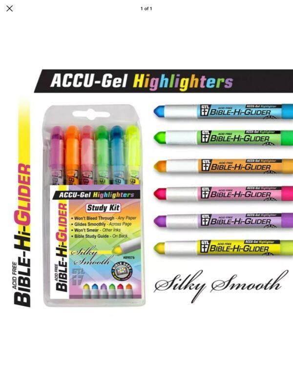 Highlighter-Bible-Hi-Glider Accu Gel-Hangable-6 Assorted Colors