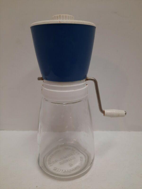 Vintage Federal Houseware Nut Chopper Grinder Blue Top