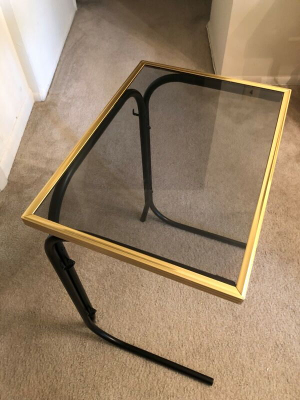 Vintage Glass and Metal TV Dinner Tray - Set of Two