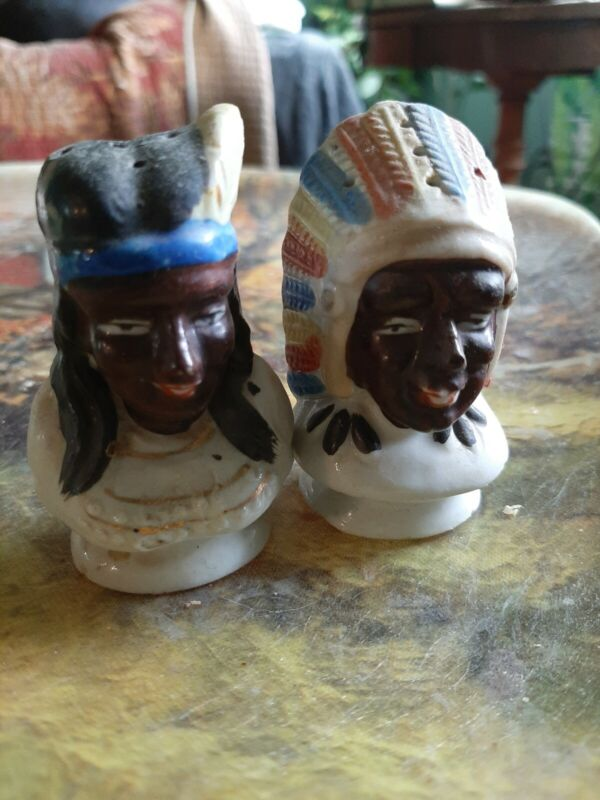 Vintage Made in Japan Tribe Couple Salt and Pepper Shakers