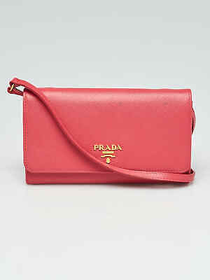 Prada Pink Saffiano Leather Wallet with Strap Clutch Bag