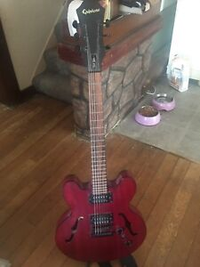 Cherry wood epiphone dot studio guitar