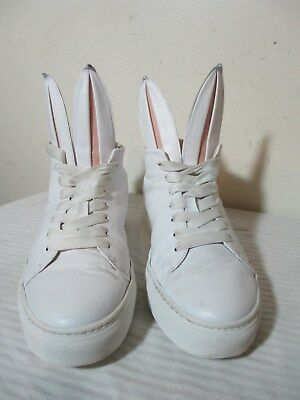 MINNA PARIKKA BUNNY HIGH TOP PLAYBOY WHT LEATHER SNEAKER SHOES 40 MADE IN SPAIN
