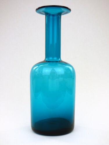 Holmegaard Otto Brauer kingfisher blue glass Gulvase 25cm Denmark MCM retro 50s