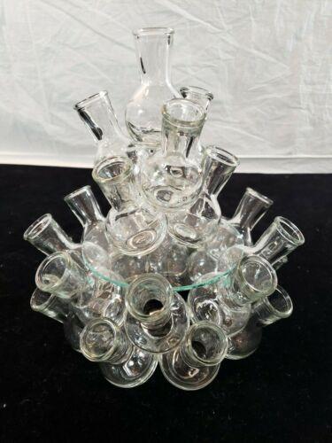 Glass Multi Cluster Vase  25-Flower Floral Arranger Vintage Table Centerpiece