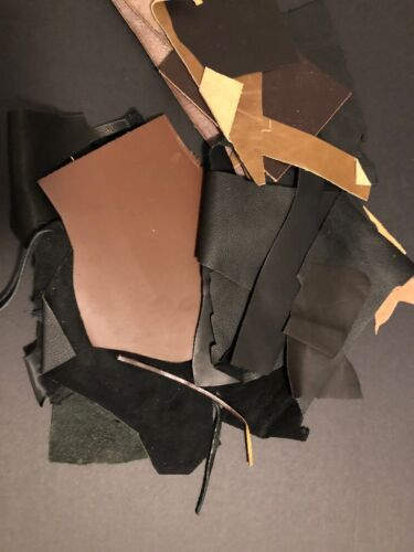 Upholstery Cow Hide Scrap Leather Pieces, Mixed Color Brown Black Tan Figures - $12.44