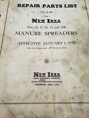 New Idea Farm Equipment No. S-50 For Manure Spreaders 15171819 200 Jan 1958