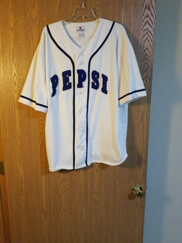 Vintage 90's Pepsi Generation Next White Sewn Baseball Jersey XXL 2XL