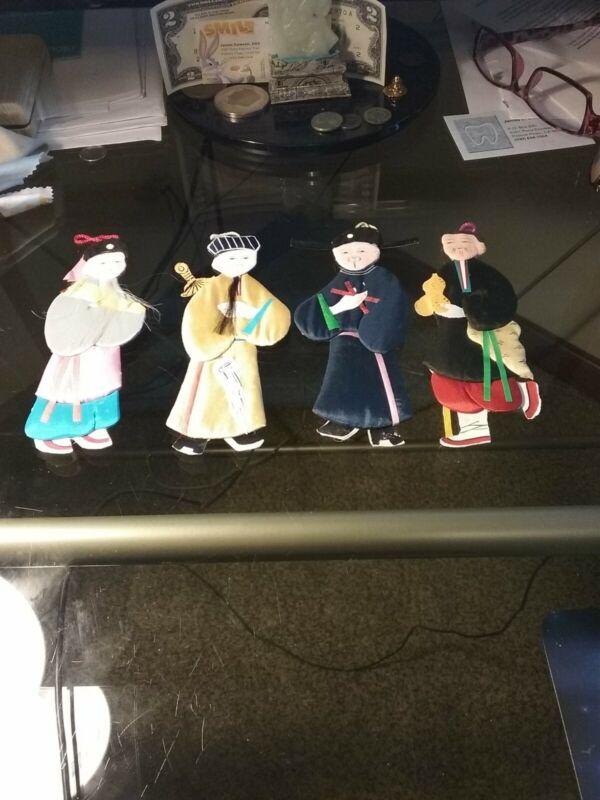 Chinese Antique 4 Immortals Silk Paper Dolls Handmade Artwork