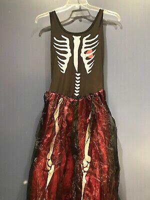 Womens Medium Long Skeleton Princess Costume, 4piece, Crinlin, NEW, Go Love (Skeleton Princess)