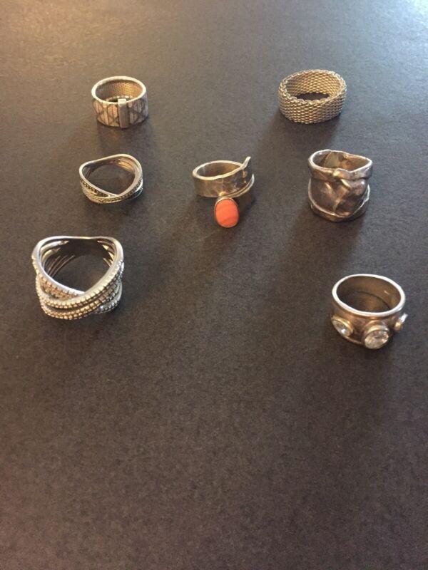 Vintage Sterling Silver LOT OF Nice 7 Rings