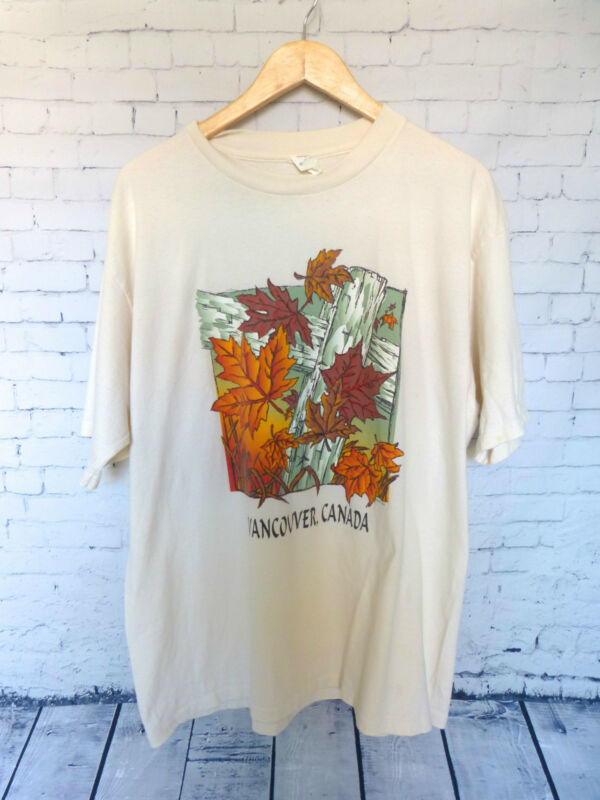Vancouver Canada Ivory Brown Orange Leaf Cotton Men's T-Shirt Size XL