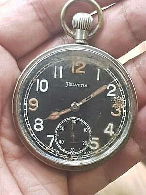 Excellent Black Dial Helvetia Military GSTP Pocket Watch for repair
