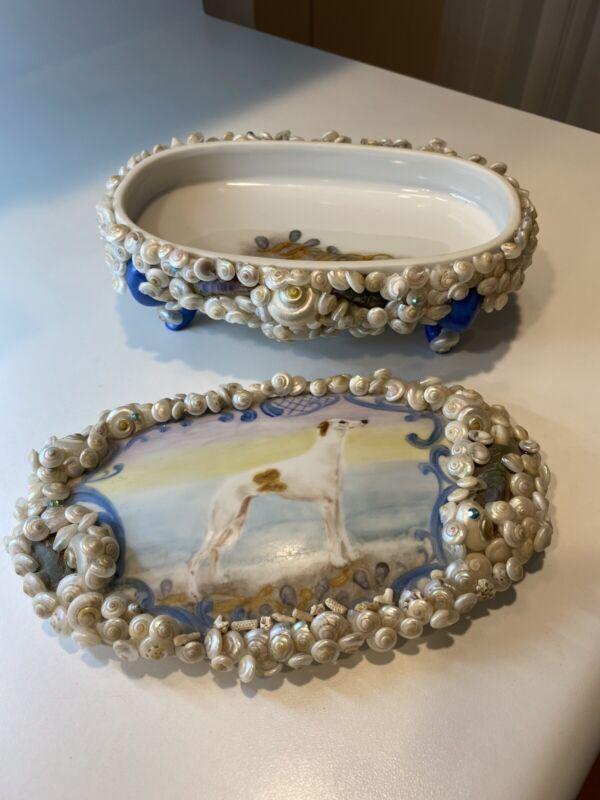 Greyhound Porcelain Covered Dish Embellished With Shells