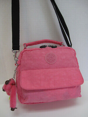 Kipling CANDY Pink Convertible Bag Backpack Mini Crossbody w Monkey Keyring