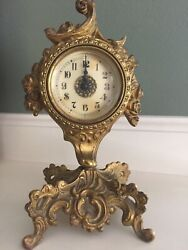 Rococo Style Art Nouveau Table Clock #19020 Anchor Brand Antique Cast Metal Bev