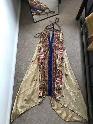Stunning boho silk Indian wrap tie dress midi gold evening high low beach vintag