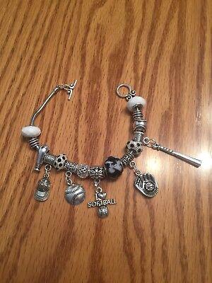 Sports Mom Charm - Softball Mom Sports Charm Bracelet