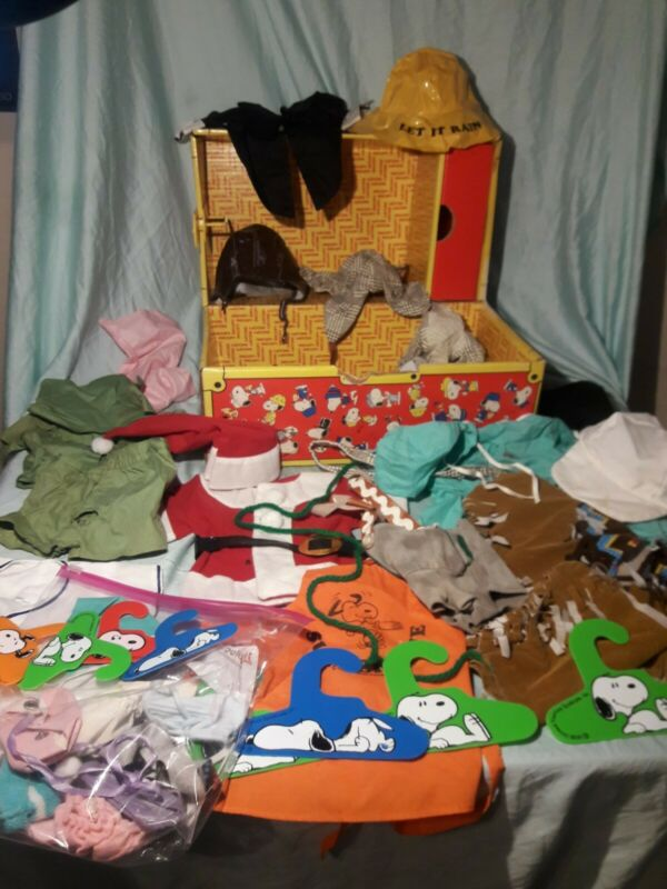 VTG Peanuts Plush Snoopy & Belle Doll Clothes Outfit Wardrobe Dress Lot