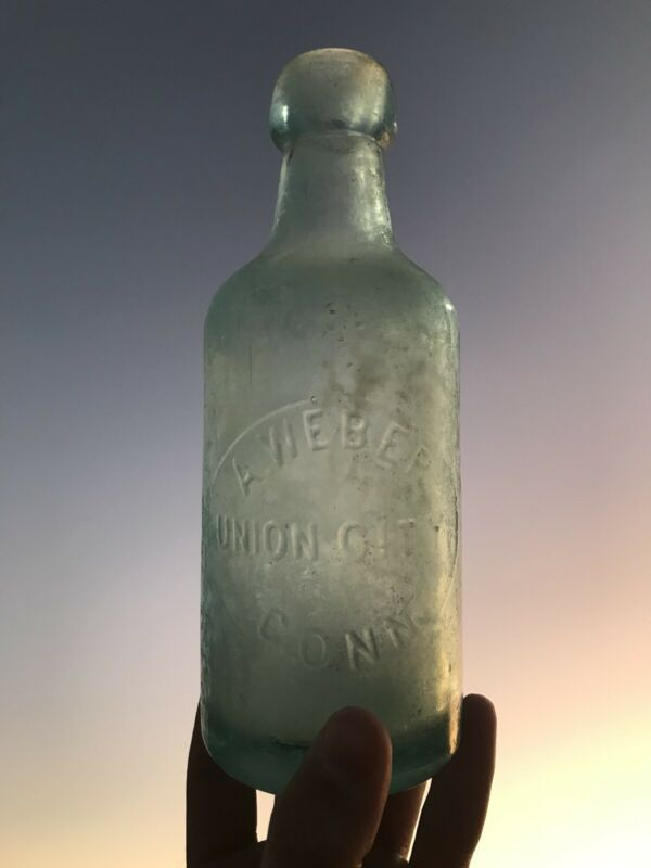 Antique A. WEBER / UNION CITY, CONN - WEISS BEER Connecticut blob top bottle