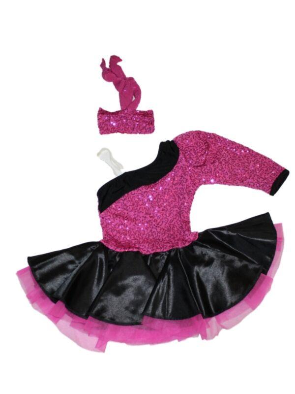 Girl Art Stone 2143 Pink Sequin Black Dance Costume Dress Jazz Size SC Child