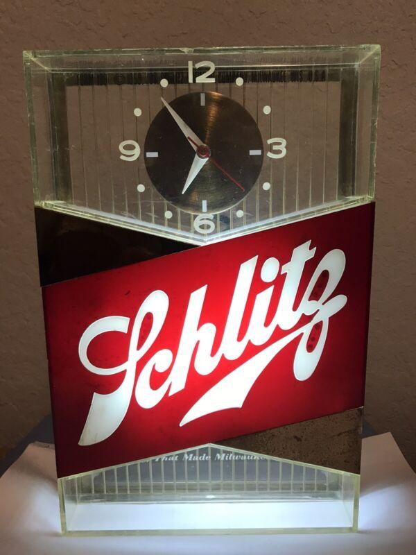 Vintage Schlitz Beer Lighted Sign With Clock, Gold Bar Top Model, 1959, Used