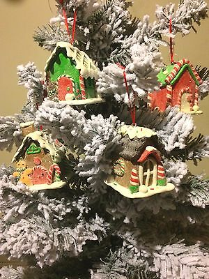 Decorate Christmas Cookies (S/4 CLAY GINGERBREAD HOUSE XMAS TREE ORNAMENTS DECOR COOKIES ICE CREAM)