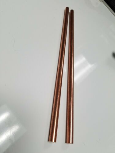"""(2)  3/8"""" .375 """" Solid Copper Round stock Bar Rod 12"""""""