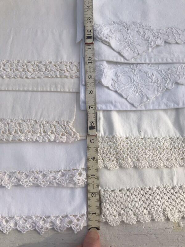 8 VTG Pillowcases Embroider Crochet Cutwork Floral COTTON Pepperell Utica Lot