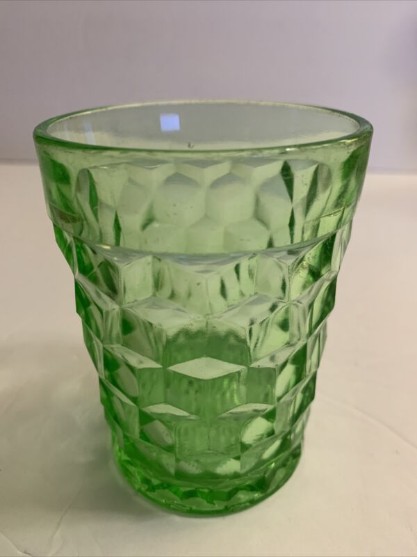 """Vintage CUBE GREEN By Jeanette Glass Cubist Vaseline Glass 4"""" Tumbler 1930s"""