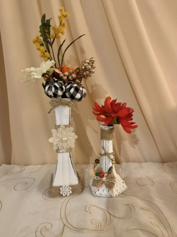 DECORATIVE BOTTLE SET OF 2 BEADED PAINTED ORNAMENTAL HAND DECORATED