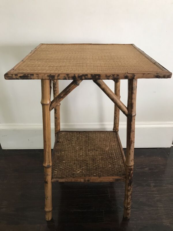 Antique English Victorian Burnt Bamboo Side Table