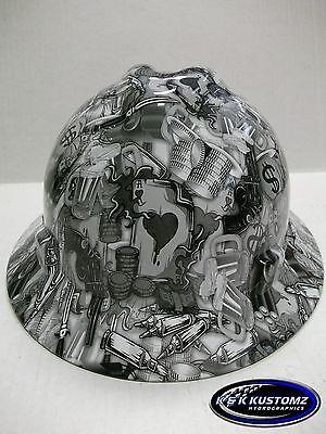 White High Stakes Pattern Full Brim New Custom MSA V-Gard Hard Hat W/FasTrac