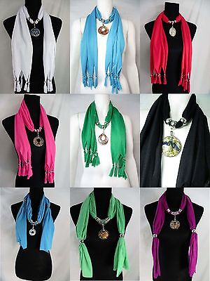 Us Seller-lot Of 6 Wholesale Charm Scarf Necklace Handcra...