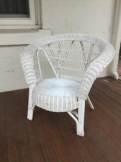 Wicker chair, white cute and summer ready
