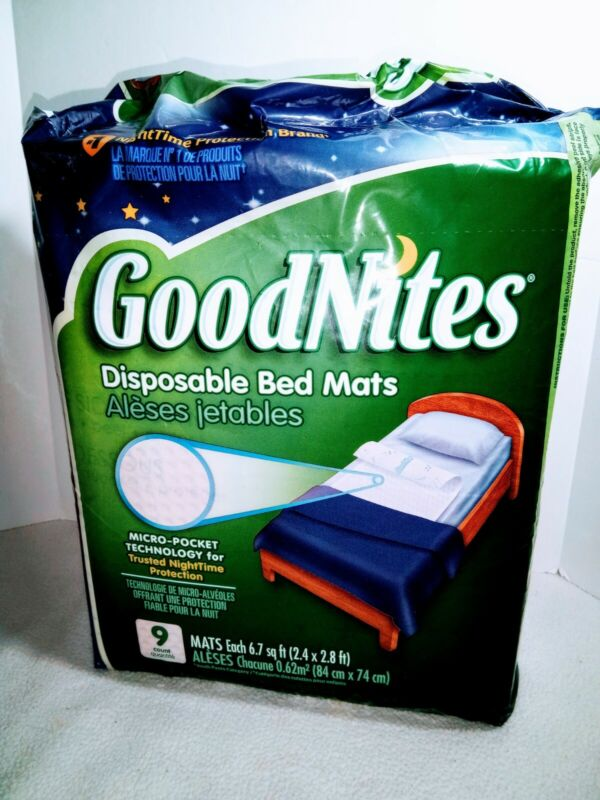 Goodnights Disposable Bed Mats 9 Count Micropocket Technology 6.7 sq ft