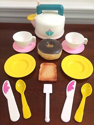Fisher Price Fun with Food Whistling Tea Kettle Teapot Set + Extras Works 1987