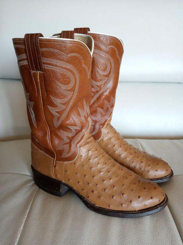 ML, Leddy, Western, Cowboy, Boots, Full, Quill, Ostrich, Brown, Tan, Mens, Sz, 8.5, E, EUC, Vtg