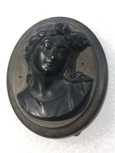 Vintage antique Victorian Gutta Percha cameo mourning pin brooch