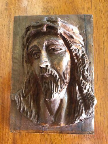 Vintage Jesus Hand Carved Olive Wood Wall Plaque