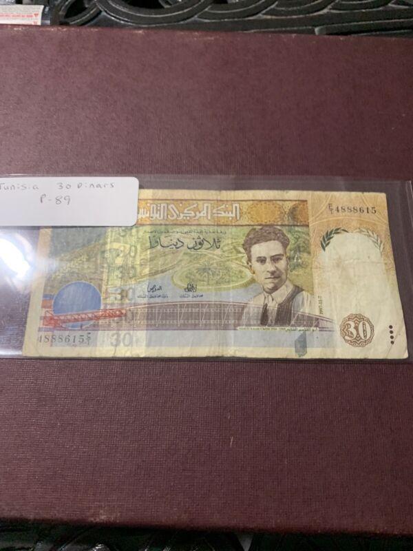 TUNISIA 30 DINARS 1997  P 89. F CONDITION.