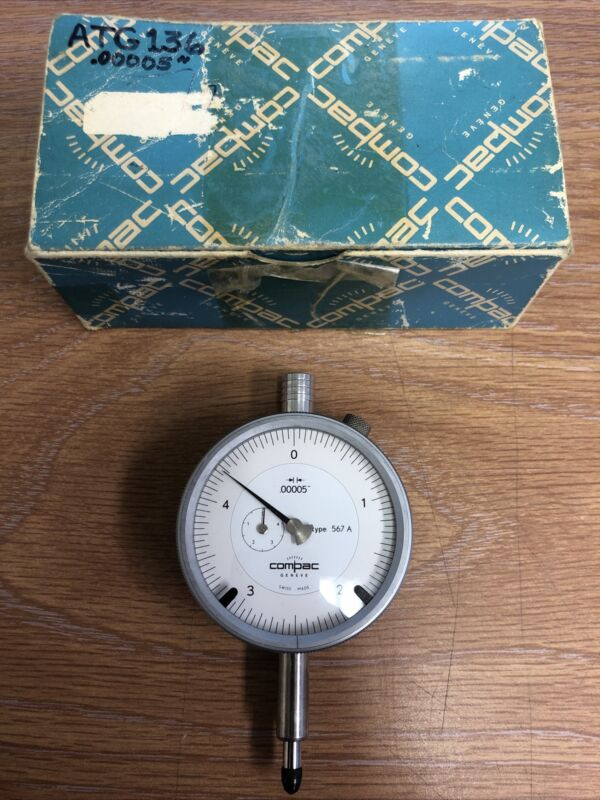 """Compac .00005"""" Indicator Type 567A Excellent Condition!"""