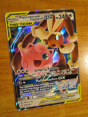 NM Pokemon MEGA LOPUNNY & JIGGLYPUFF GX Card COSMIC ECLIPSE Set 165/236 Tag Team