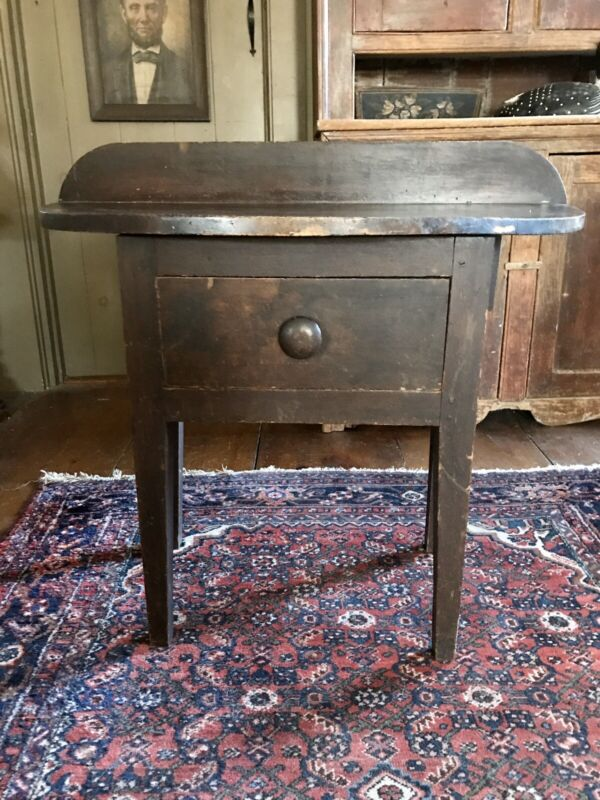 19th CENTURY KENTUCKY DEMILUNE TABLE 	with DRAWER in ORIGINAL SURFACE