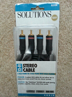 NEW -- 12FT -- 2 RCA Dual Male to Male Stereo Patch Audio Cable GOLD PLATED Plated Rca Patch