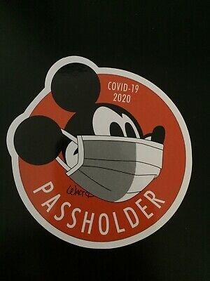 "Disney Passholder Mickey Mouse w Mask Magnet 4"" Car Size Magnet pass holder 2020"