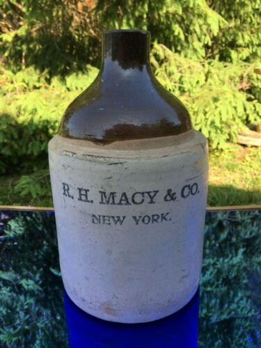 "R.H. Macy & Co Antique Stoneware Advertising Jug Crock A1 11.5"" Tall 1 Gallon"