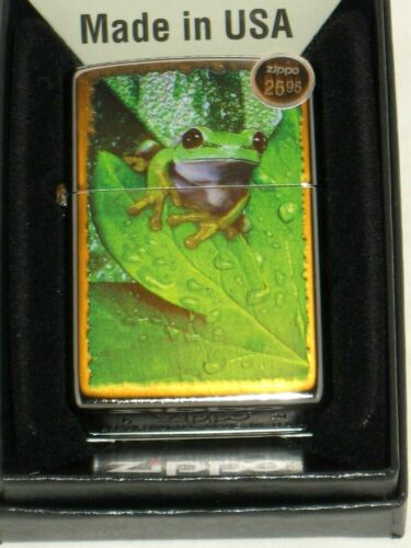 New Windproof ZIPPO USA Lighter 15388 Peeking Frog on a Leaf Satin Chrome Case
