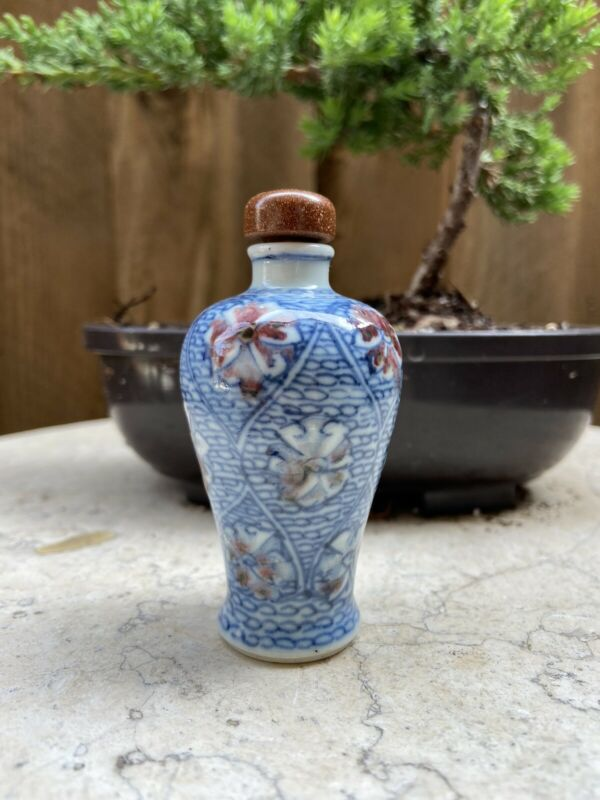 Chinese Porcelain Meiping Blue And Red Snuff Bottle