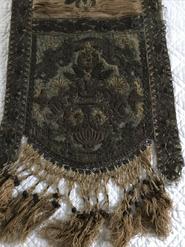 18th.c Heavy Decorated w Gild Bullion Lace & Metal Tread Embroidery Table Runner